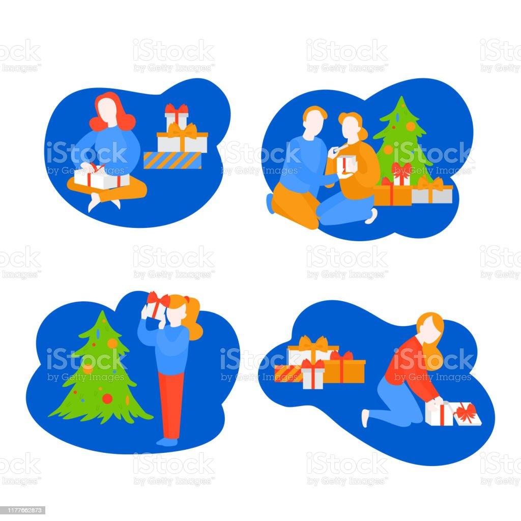 Madchen Offenes Paket Kind Auspacken Geschenk Freundin Immer Geschenkbox Von Freund Cartoonpaar Feiern Neujahr Urlaubszeit Weihnachtsfeier Stock Vektor Art Und Mehr Bilder Von Auspacken Istock