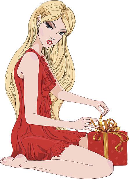 frau öffnen weihnachtsgeschenk. - langhaarspitzen stock-grafiken, -clipart, -cartoons und -symbole