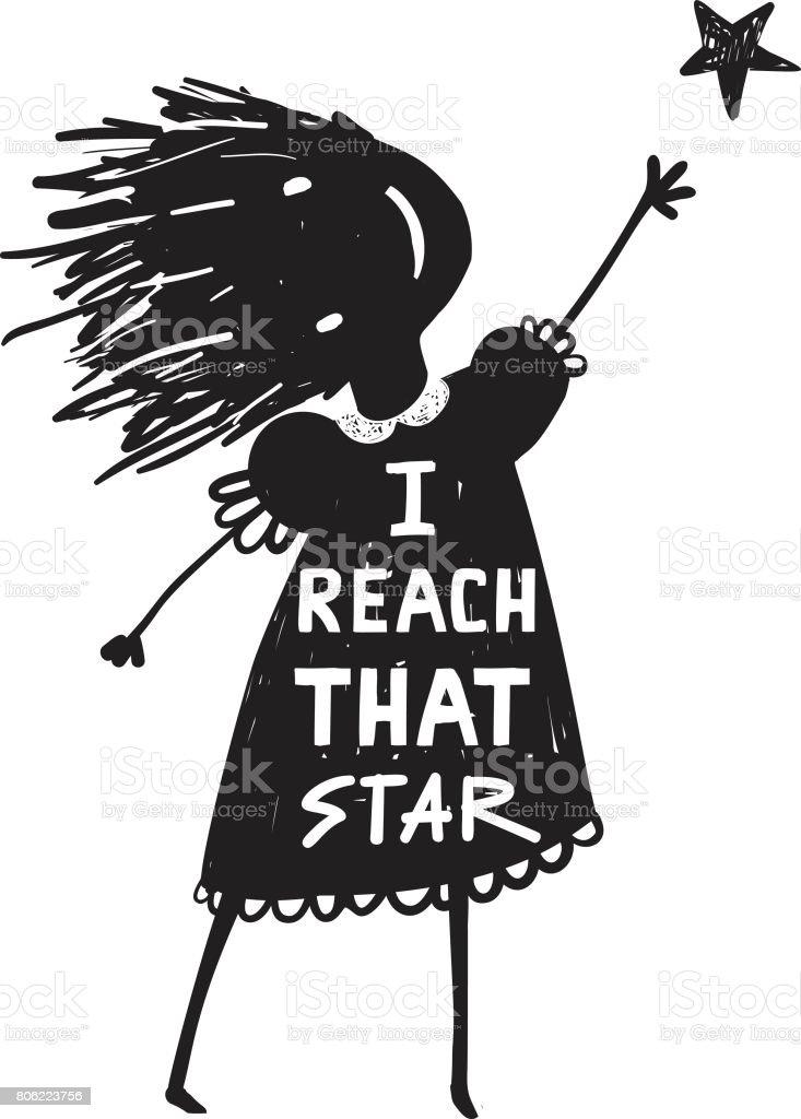 Girl or KId Reaching the High Star vector art illustration