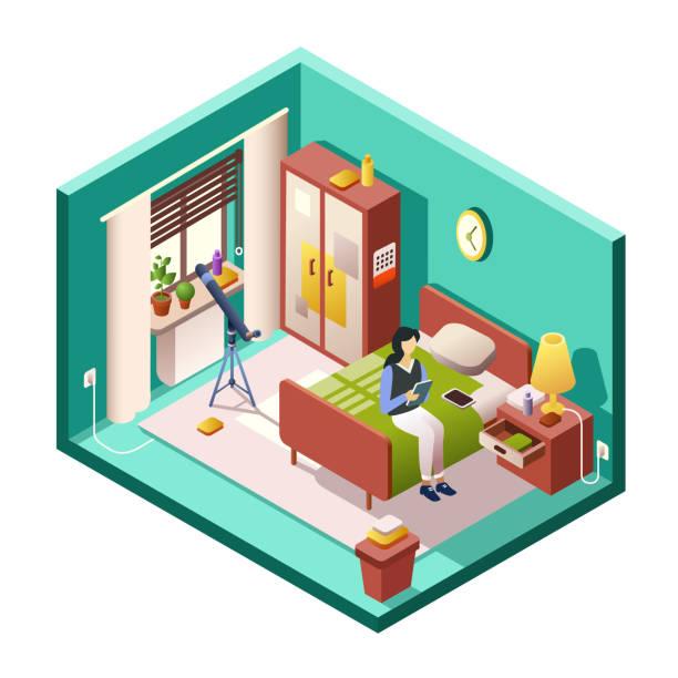 アイソメルーム断面の女の子または女性の寝室ベクトルイラスト - スマホ ベッド点のイラスト素材/クリップアート素材/マンガ素材/アイコン素材