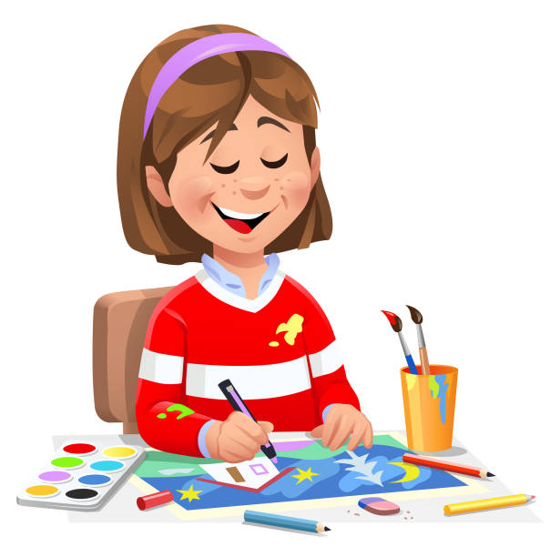 ilustraciones, imágenes clip art, dibujos animados e iconos de stock de chica pintando una imagen - clase de arte