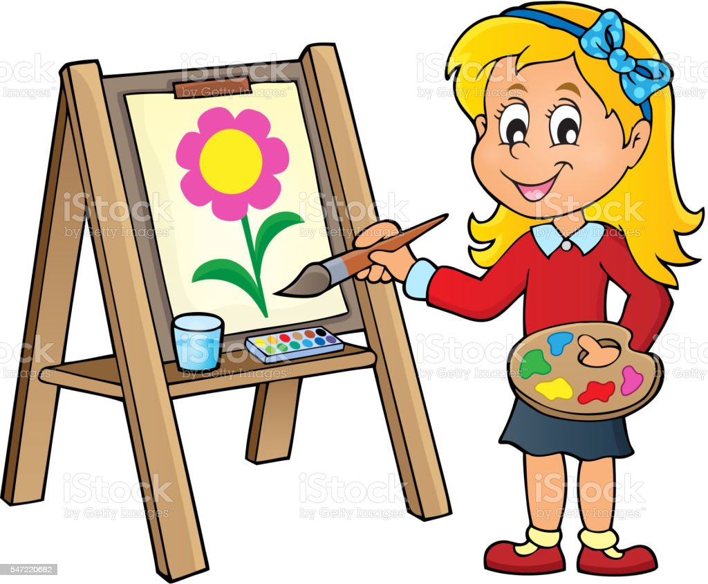 royalty free artist female or girl painting on canvas clip art rh istockphoto com artist clip art images artist clipart black and white