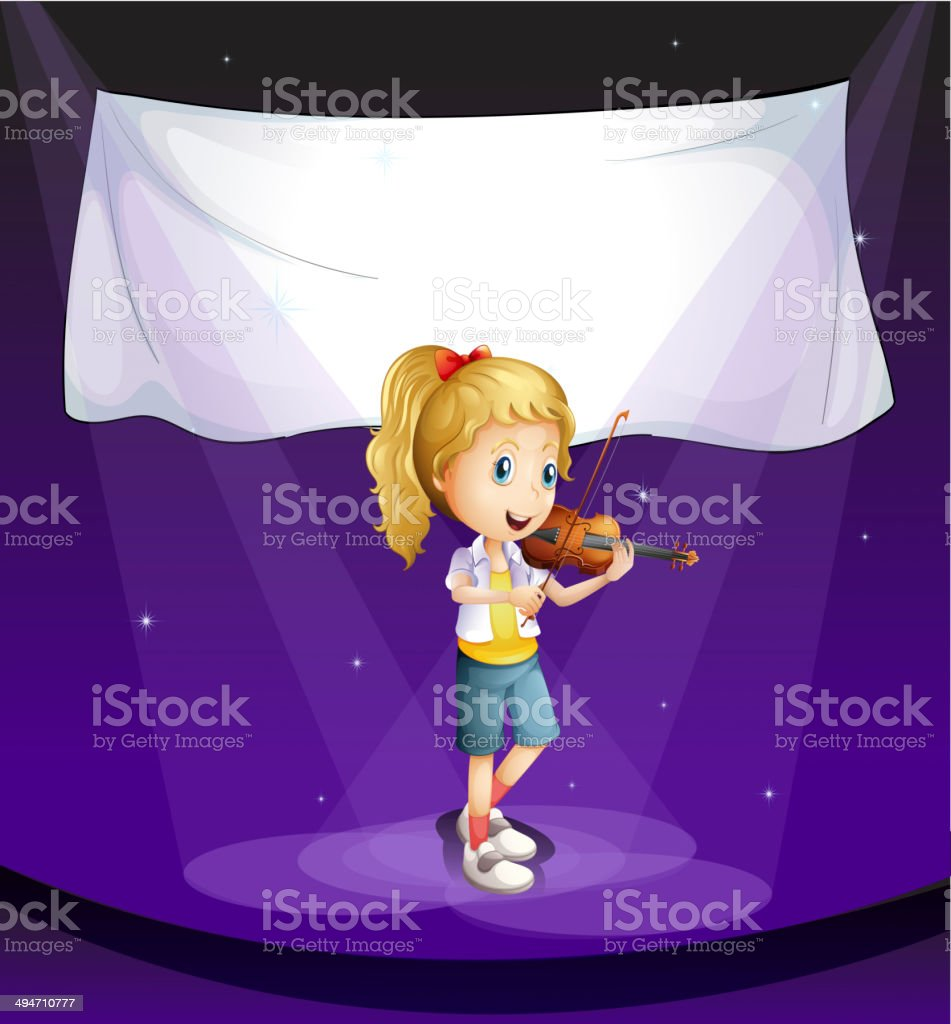 Girl performing at the stage with an empty banner royalty-free girl performing at the stage with an empty banner stock vector art & more images of adult