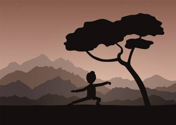 Girl performing qigong or taijiquan exercises in the evening. Girl performing qigong or taijiquan exercises in the evening. Woman practicing Tai Chi, qi-gong exercises. Ancient chinese healthcare practice. Flat style. Vector illustration. qigong stock illustrations