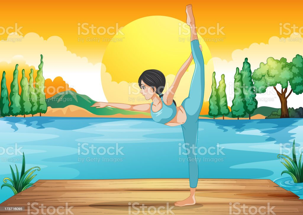 Girl performing yoga along the river in a sunset scenery royalty-free stock vector art