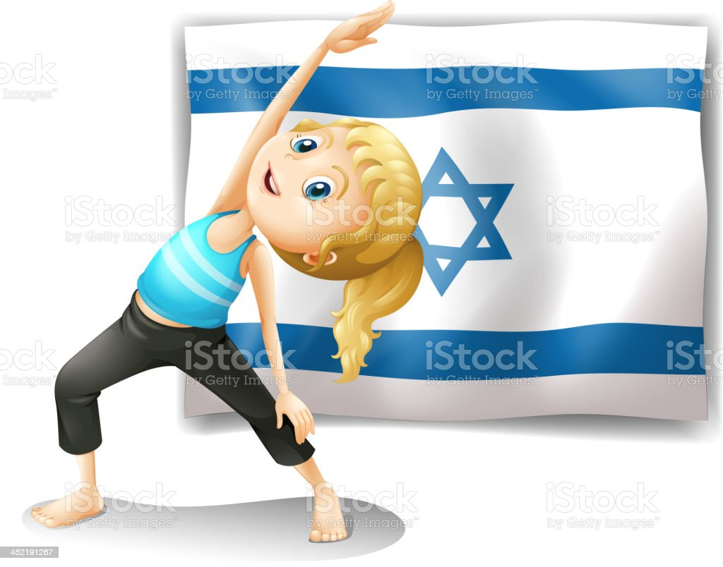 Girl performing yoga in front of the Israel flag royalty-free girl performing yoga in front of the israel flag stock vector art & more images of adult