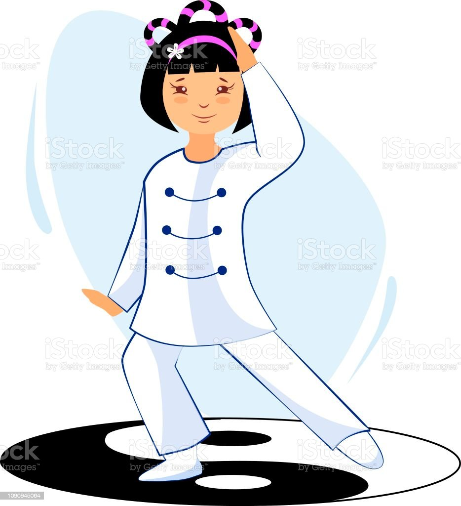 Girl Performs Tai Chi And Qigong Exercises Stock
