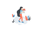 Vector girl pick flowers, summer\spring outdoor activities.   Female flat cartoon characters isolated on white background. Vector illustration.