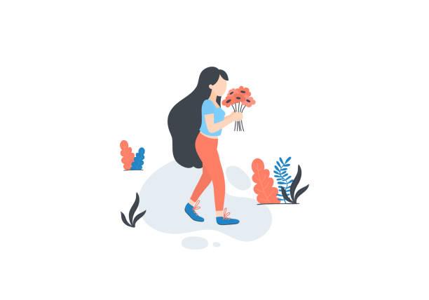 illustrazioni stock, clip art, cartoni animati e icone di tendenza di girl pick flowers - raccogliere frutta