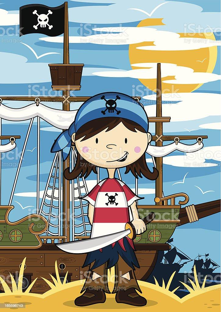 Girl Pirate Crewman Ship Scene royalty-free girl pirate crewman ship scene stock vector art & more images of bandana