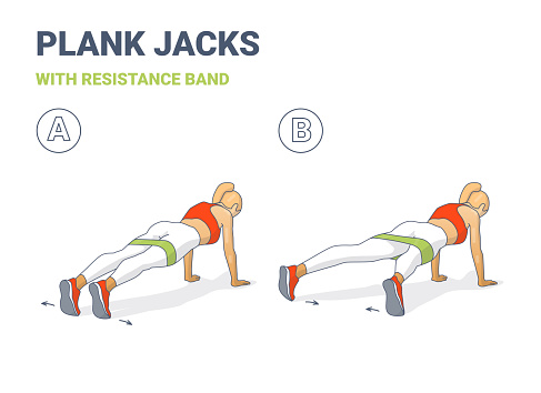 Girl Plank Jacks Weight Loss Workout Exercise Colorful Concept