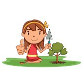 Child planting new tree, vector illustration, caring nature, environmental conservation, cartoon character, isolated, white background