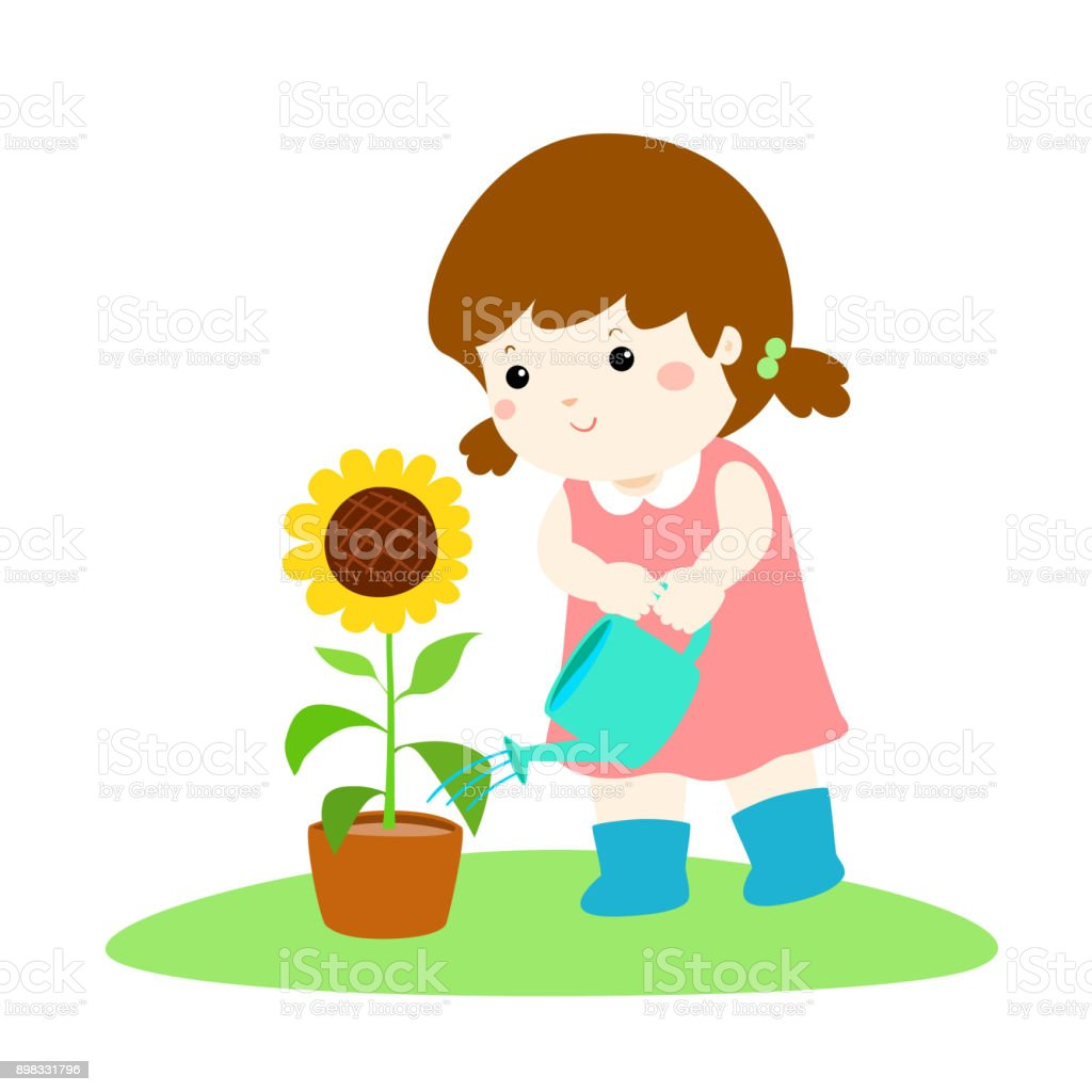 royalty free children planting seeds clip art vector images rh istockphoto com planting clipart black and white clipart planting flowers