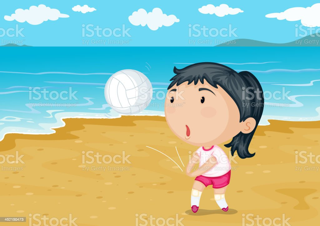 Girl playing ball on a beach royalty-free stock vector art