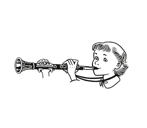 stockillustraties, clipart, cartoons en iconen met meisje speelt klarinet - klarinet