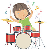 Vector girl playing drums
