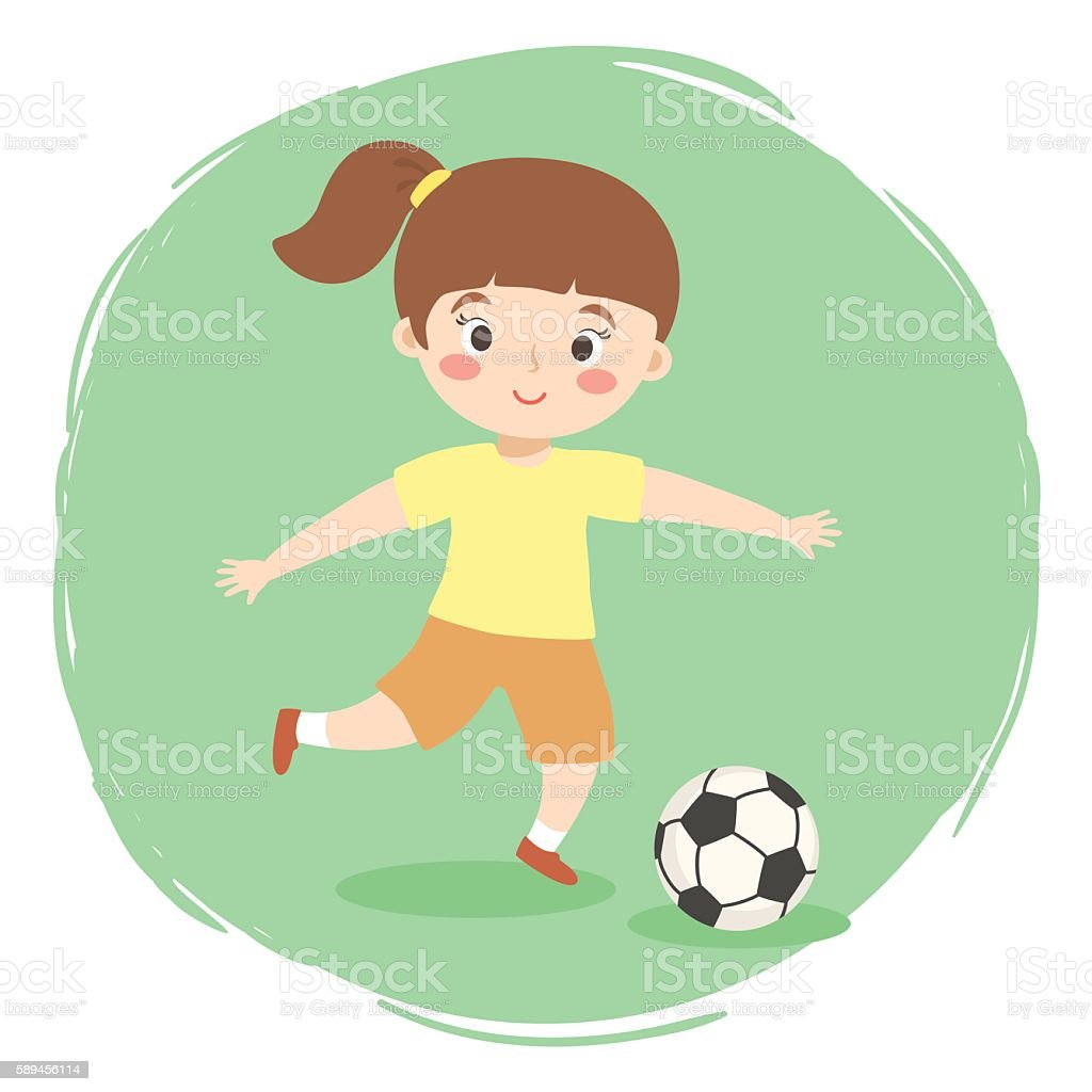 Girl Playing Football Cartoon Vector Stock Illustration Download Image Now Istock