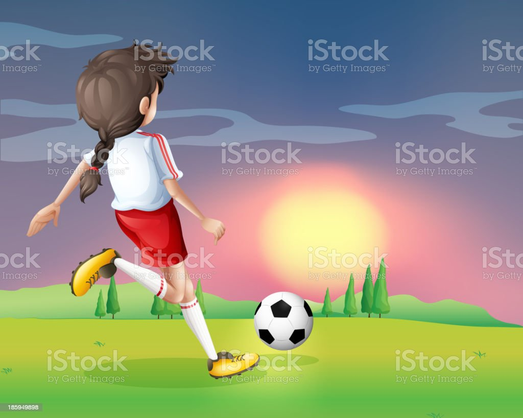 girl playing football in the afternoon royalty-free stock vector art