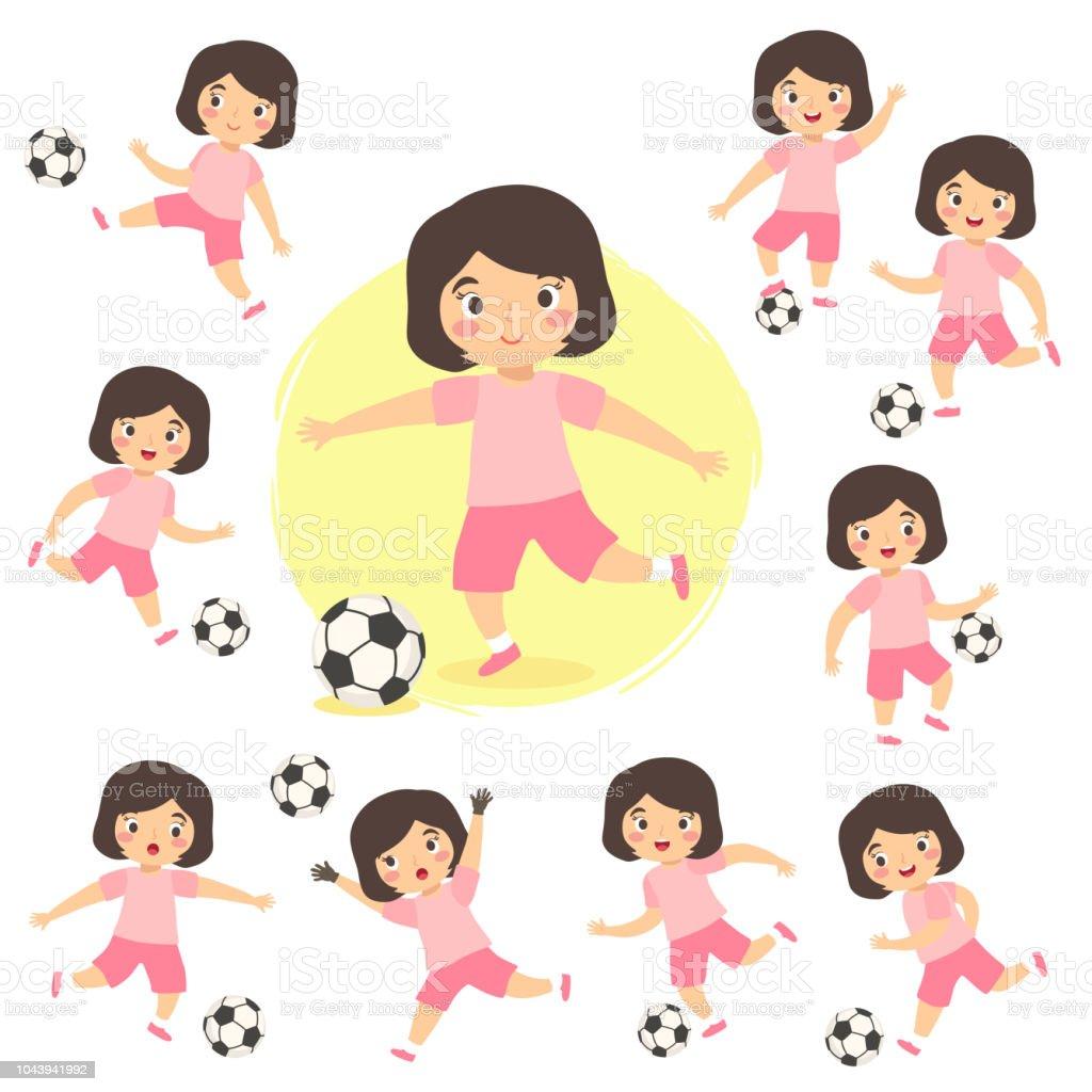 Menina jogando futebol futebol esporte conjunto crianças de ilustração vetorial - ilustração de arte em vetor