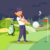 Girl Playing Golf at Nigh Course. Sport Lifestyle.