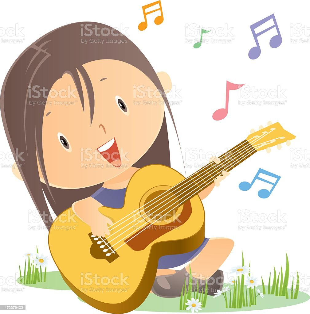 Girl playing guitar royalty-free stock vector art
