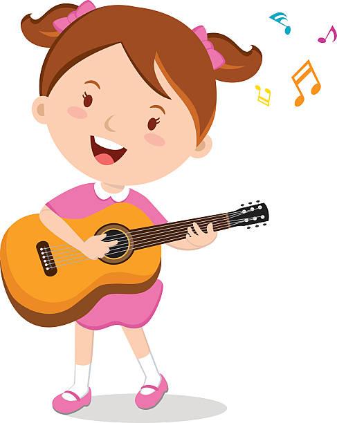 Rock Band Member Funny Character Ecstatic Stock Vector ...  Cartoon Girl Guitarist