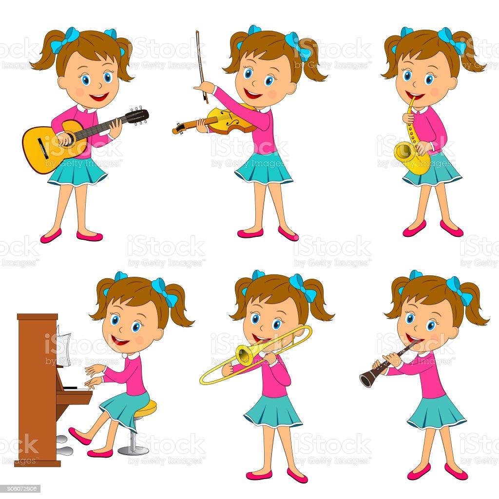 girl playing music vector art illustration