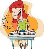 Cartoon type girl playing on piano.