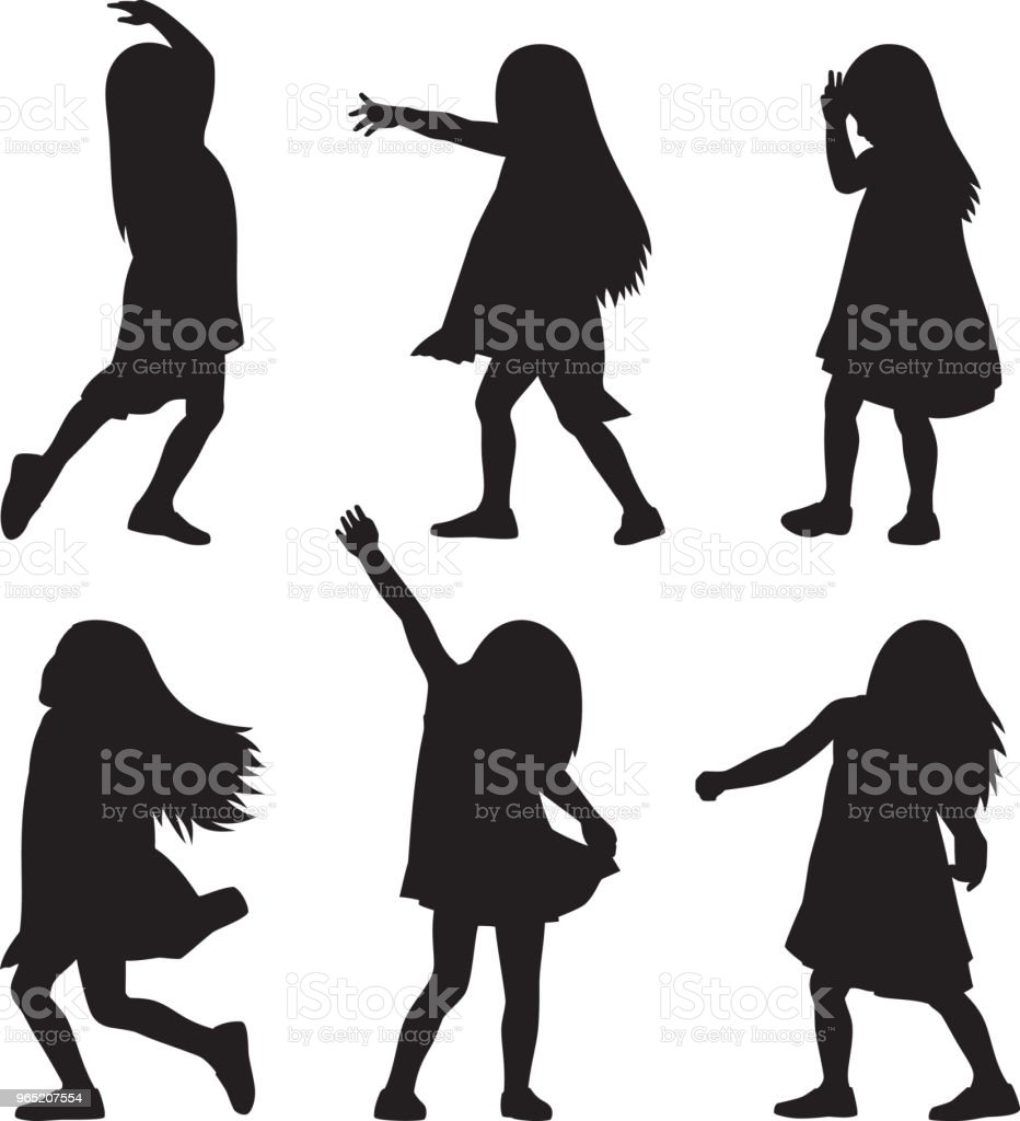 Girl Playing Silhouettes 2 girl playing silhouettes 2 - stockowe grafiki wektorowe i więcej obrazów adolescencja royalty-free