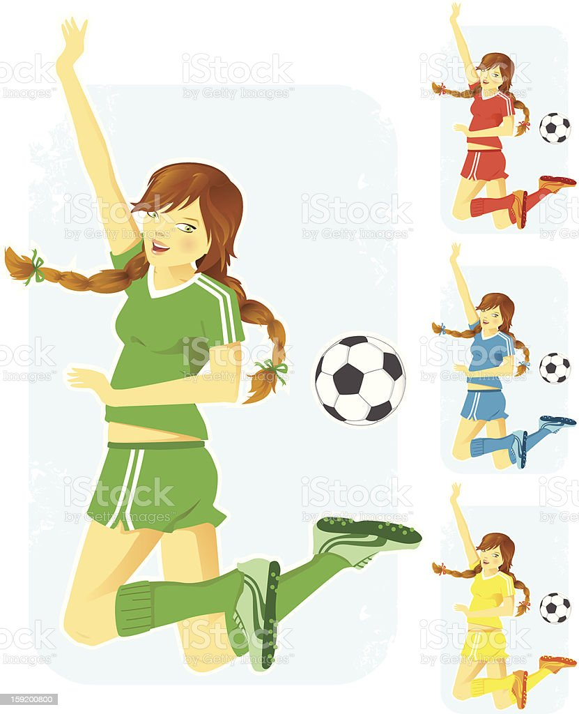 Girl playing soccer / football - 4 colors royalty-free stock vector art