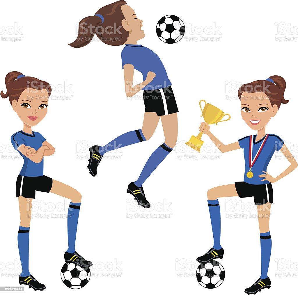 royalty free girls soccer clip art vector images illustrations rh istockphoto com free girl soccer player clipart girl kicking soccer ball clipart