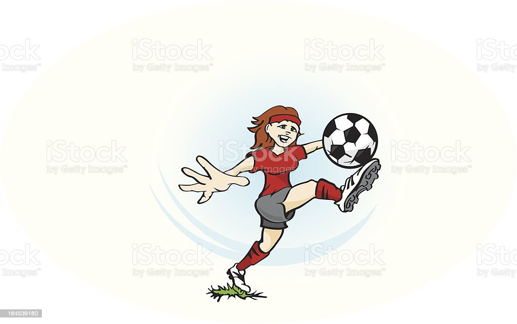 Girl Playing Soccer royalty-free stock vector art