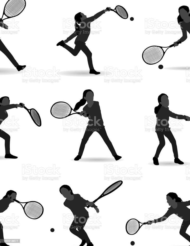 Girl playing tennis vector art illustration