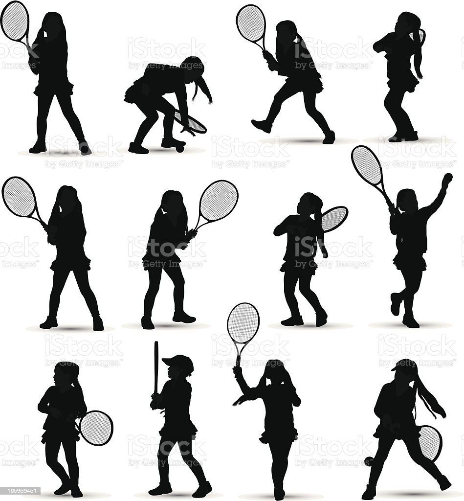 Girl playing tennis royalty-free girl playing tennis stock vector art & more images of adolescence