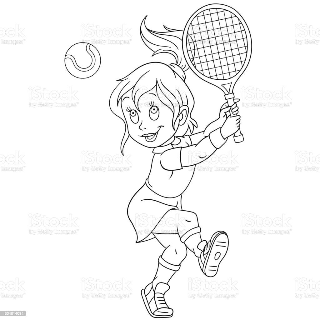 Tenis Oynayan Kiz Stok Vektor Sanati Animasyon Karakter Nin Daha