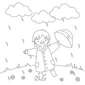 Girl Playing Under The Rain Coloring Page Vector Design