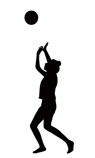 girl playing voleyball, silhouette vector