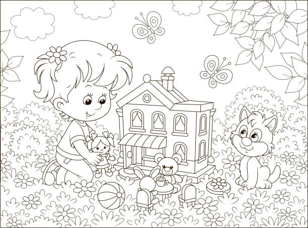 Girl playing with a doll and a toy house Cute little girl playing with a small doll, a bear, a rabbit and a toy house among flowers on a sunny summer day, black and white vector illustration in a cartoon style dollhouse stock illustrations