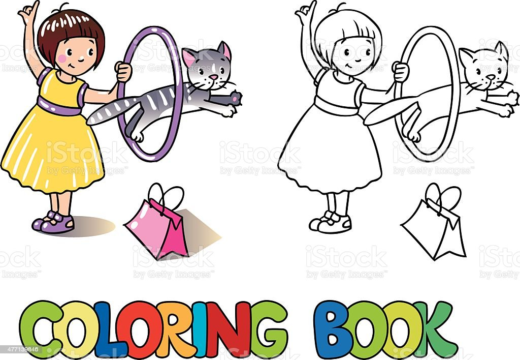 Girl playing with cat. Coloring book vector art illustration