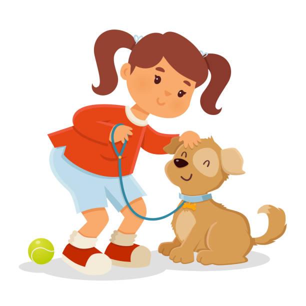 ilustraciones, imágenes clip art, dibujos animados e iconos de stock de chica jugando con perro - animales de granja