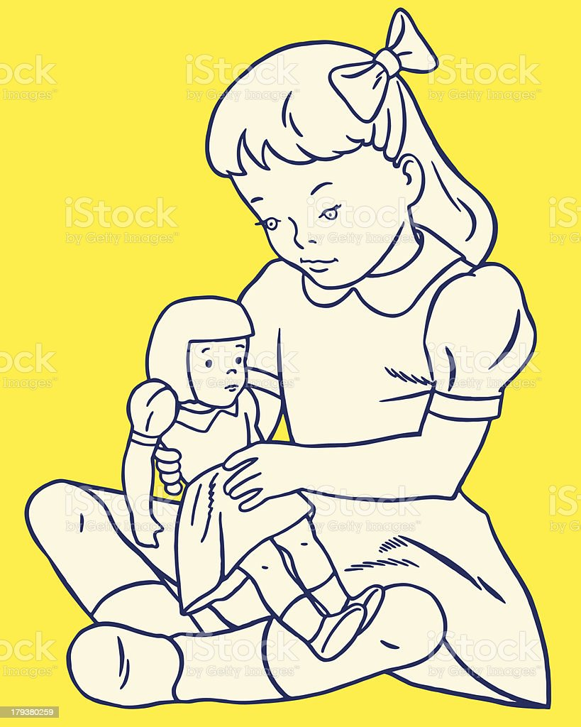 Girl Playing With Doll royalty-free stock vector art