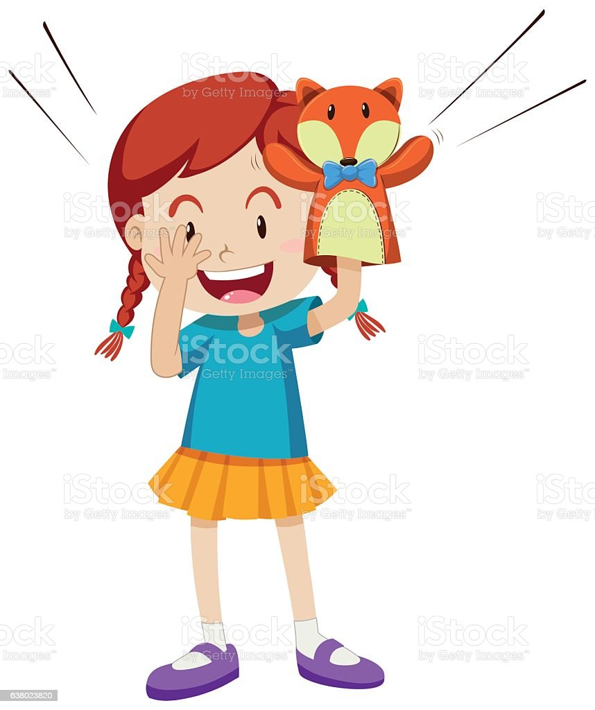 Girl playing with puppet vector art illustration