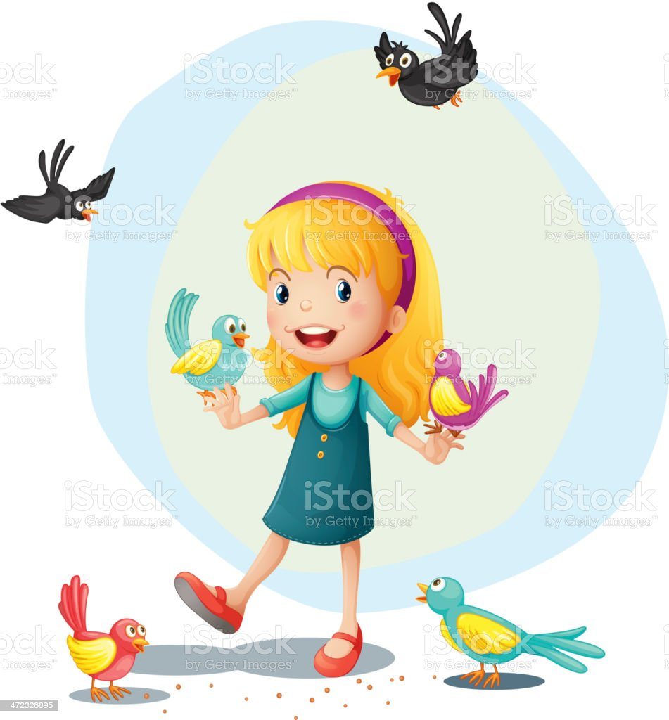 Girl playing with the birds royalty-free stock vector art