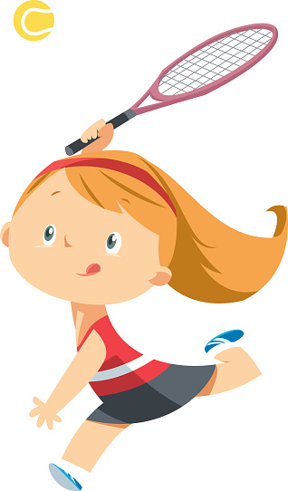 Girl plays tennis.