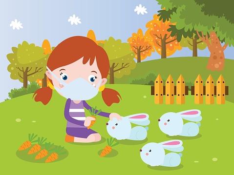 Girl plays with rabbit cartoon 2d