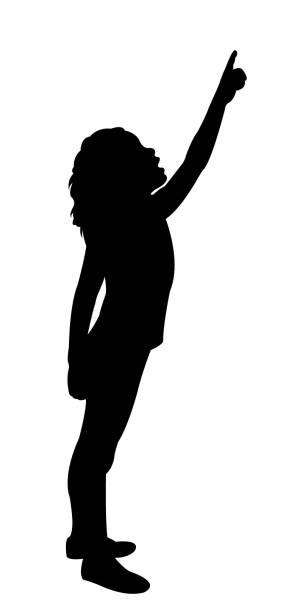 stockillustraties, clipart, cartoons en iconen met een meisje wijzende vinger, silhouet vector - alleen één meisje
