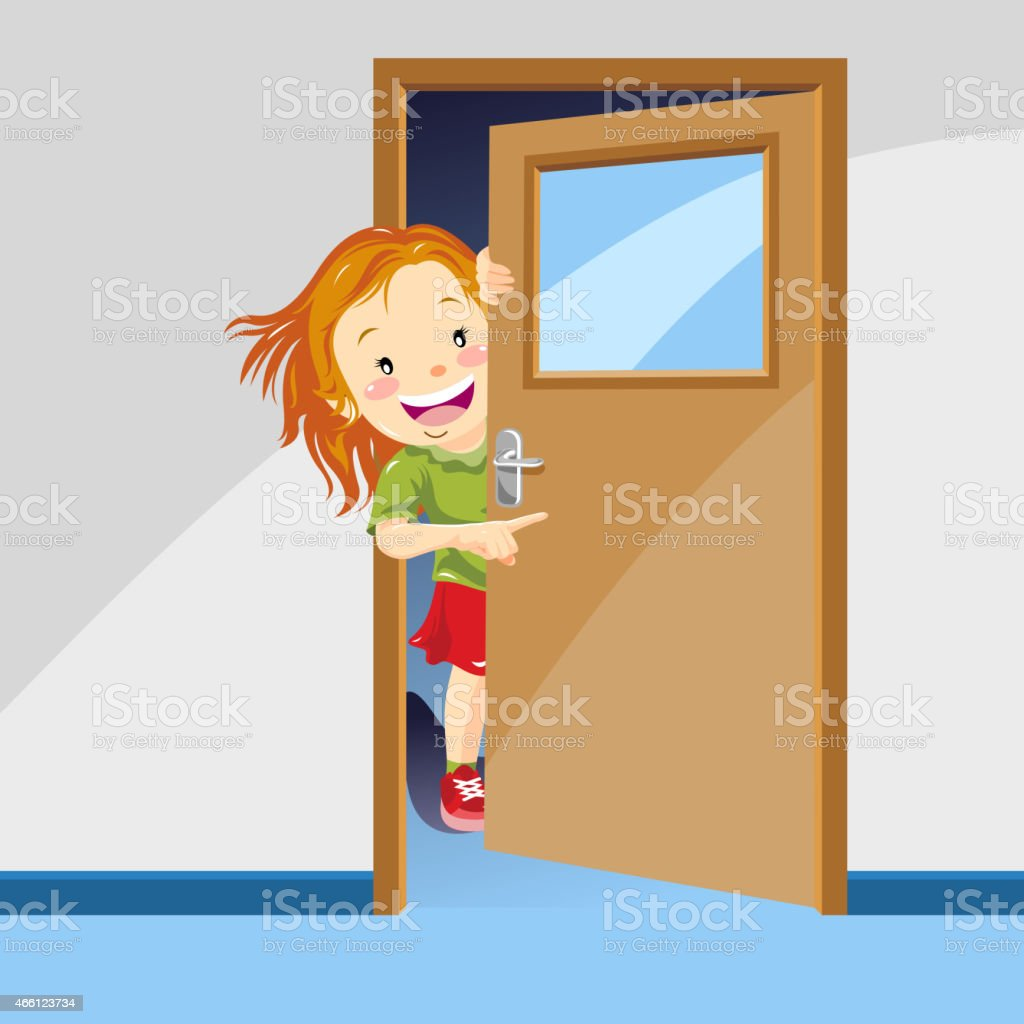 Girl Pointing The Way Behind the Door royalty-free girl pointing the way behind the  sc 1 st  iStock & Girl Pointing The Way Behind The Door Stock Vector Art u0026 More Images ...