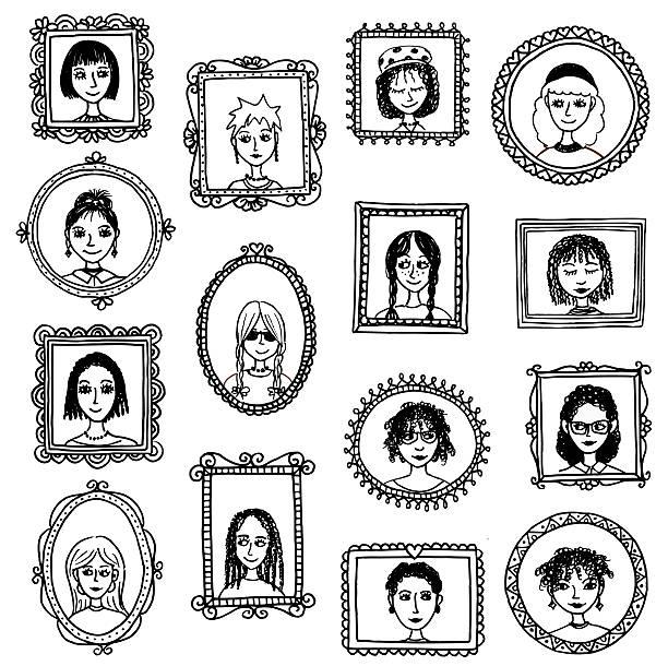 mädchen-porträts - palettenbilderrahmen stock-grafiken, -clipart, -cartoons und -symbole