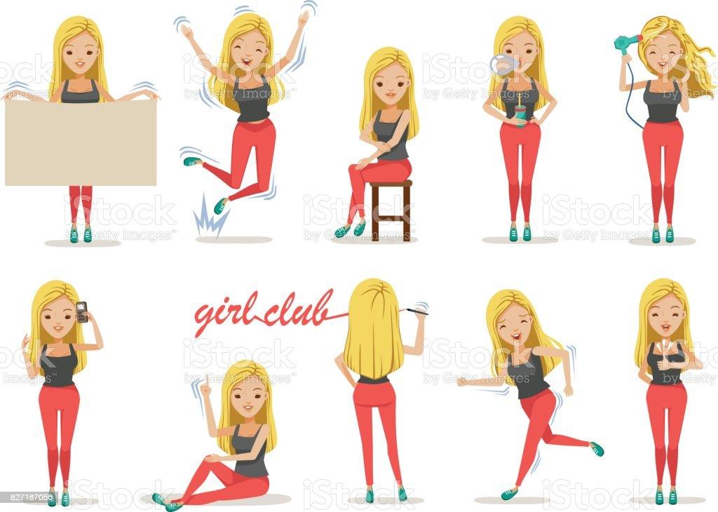 Girl poses vector art illustration