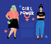 Girl Power card, Feminist flyer Anti-discrimination poster. Stylish young women on dark blue background, place for text. Hipster characters, Vector flat illustration